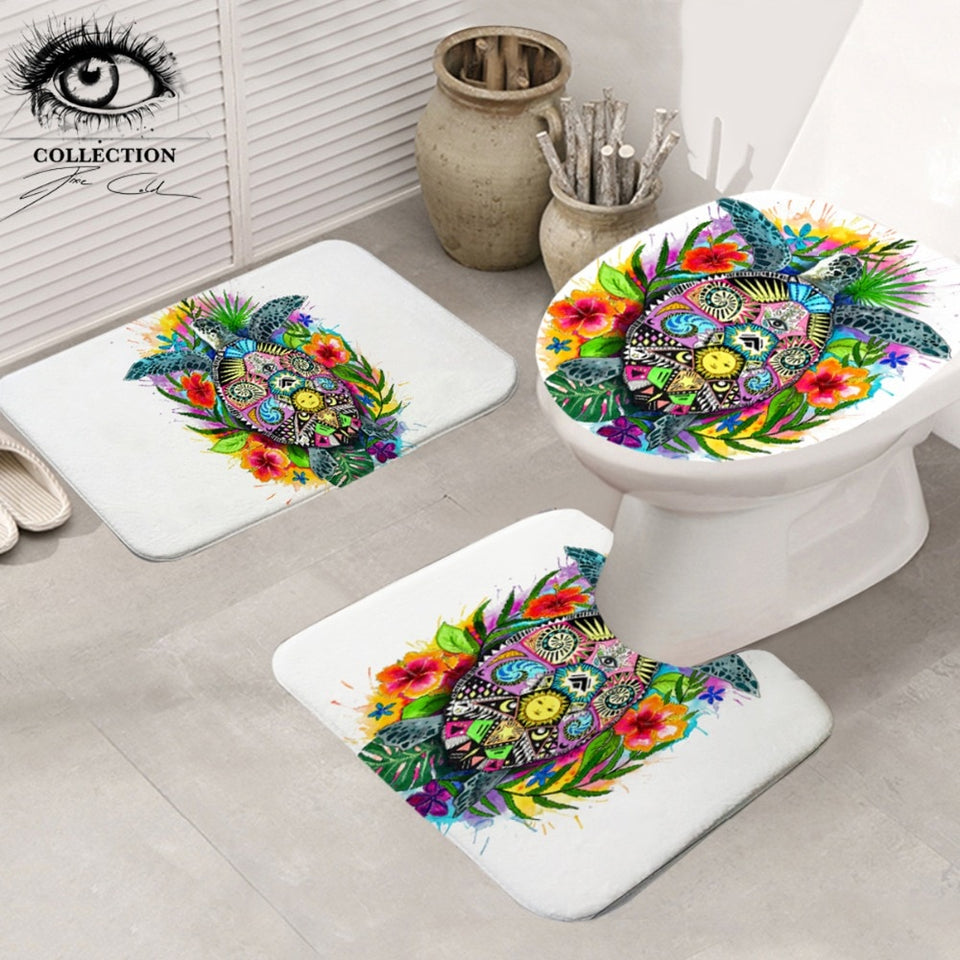 Turtle Life by Pixie Cold Art Bathroom Mat 3-Piece Set
