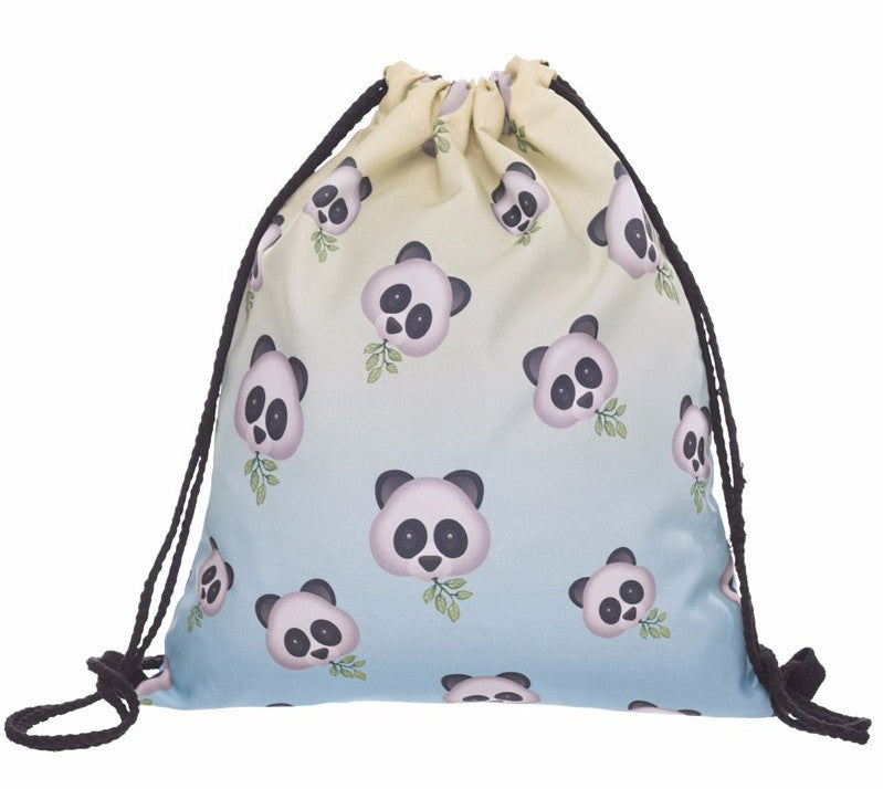 Emoji Panda Drawstring Bag