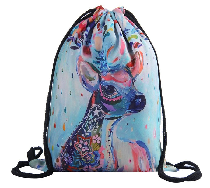 Water Color Deer Drawstring Bag