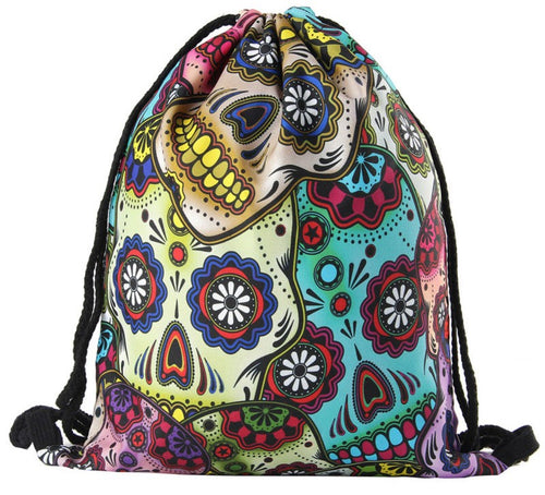 Sugar Skull Drawstring Bag