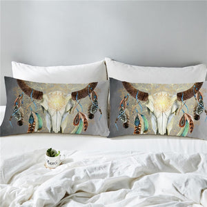 Tribal Skull Feathers Pillowcase (Multi Colors)