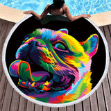 Rainbow Royal Animals by Weer Round Beach Towel