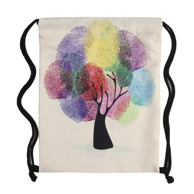 Water Color Tree Drawstring Bag