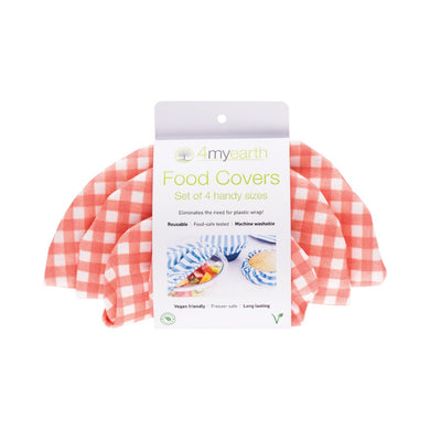 4myearth Food Covers Red Gingham fabric in a set of 4.