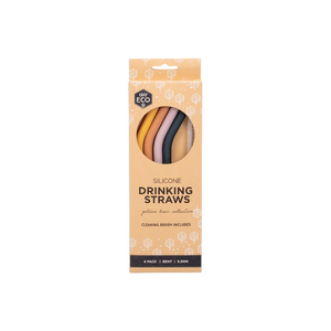 everECO Silicone Drinking Straws - Golden Hour - 4pk bent + brush
