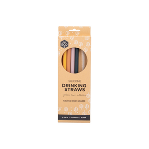 everECO Silicone Drinking Straws - Golden Hour - 4pk + brush