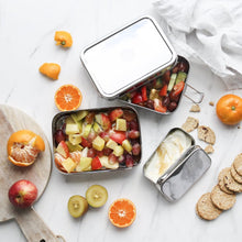 everECO Stainless Steel XL Stackable Bento Box + Mini Container in use