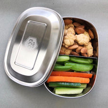 everECO stainless steel bento box two compartment with snacks