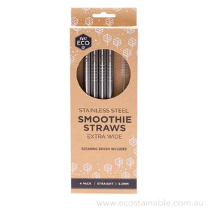 everECO Stainless Steel Smoothie Straws 4pk with brush