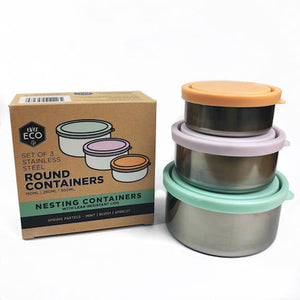 everECO Stainless Steel Round Nesting Containers