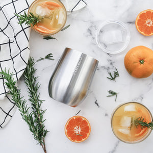 everECO Stainless Steel Insulated Mini Tumbler - Brushed Stainless with juice