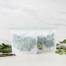 everECO Reusable Silicone Food Pouches with leafy greens