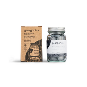 Georganics Mouthwash Tablets – Activated Charcoal with box