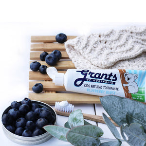 Grants Kids Toothpaste Blueberry Burst on display with brush and blueberries