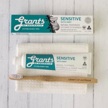 grants of australia sensitive toothpaste box and tube with toothbrush and facewasher