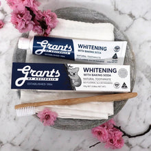 grants of australia whitening toothpaste box and tube with toothbrush and facewasher