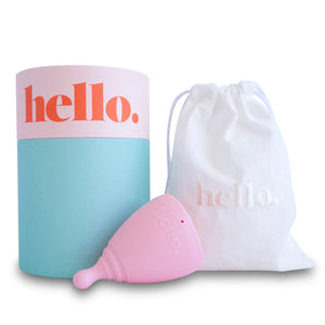Hello Cup Large Blush with cotton pouchh and packaging