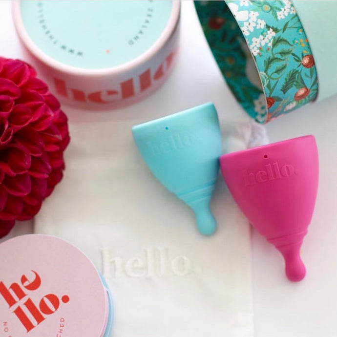 hello cup double up small medium blue and large fuchsia with packaging