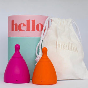 hello cup double up small medium orange and large fuchsia with packaging