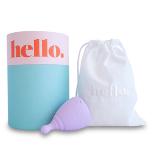 lilac extra small hello cup with cardboard tube and linen pouch