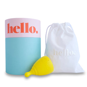 Hello Cup Large Yellow with packaging
