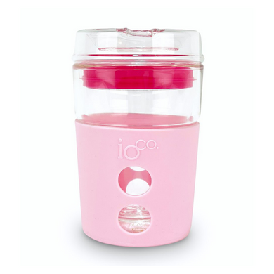 IOCO Traveller Glass Cup 8oz - Marshmallow + Hot Pink