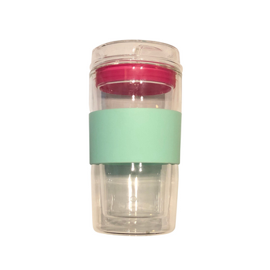 IOCO Traveller Glass Cup 12oz - Spearmint + Hot Pink