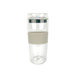 IOCO Traveller Glass Cup 16oz - Latte + Midnight