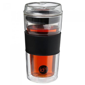 IOCO Traveller Glass Cup 12oz - Black with tea
