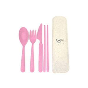 IOCO Wheat Straw Cutlery Set - Pink
