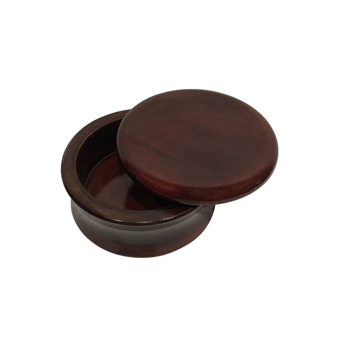 Parker Mango Wood Shaving Bowl Classic Brown with lid ajar