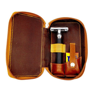 Parker Leather Safety Razor Travel Case with razor and blades