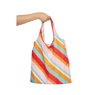 Project Ten Recycled Nylon Fold Up Shopper - Candy Stripes