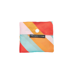 Project Ten Recycled Nylon Fold Up Shopper - Candy Stripes in pouch