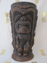 Load image into Gallery viewer, Ku'ool Matte Brown Three-Sided Tiki Mug, holds 14 ounces