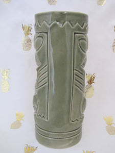 Mean Olive Green Tiki Mug, holds 11 ounces
