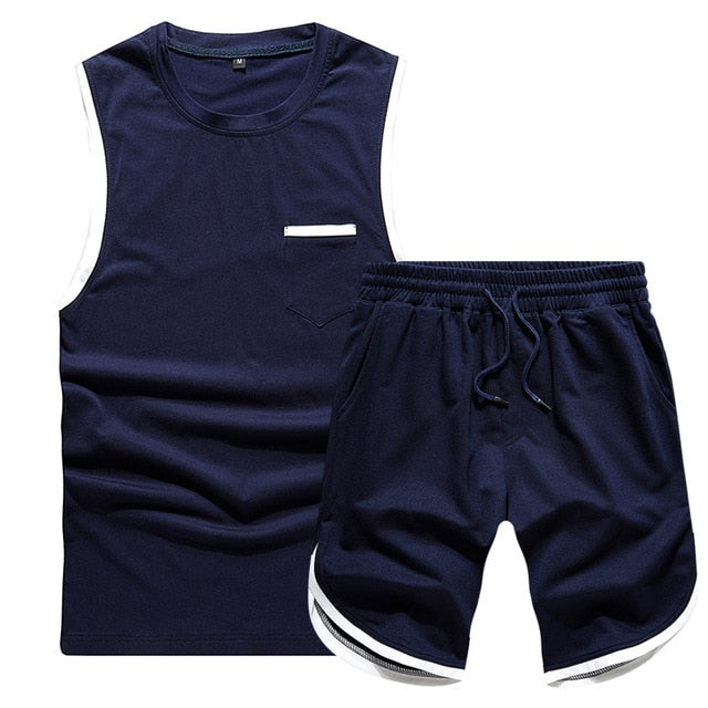 Summer 2PC Set Men EUR/US Size Short Sleeve T Shirts Two Piece Tops+ Shorts Suit Sportswear Set Mens Short Sets Male Tracksuit