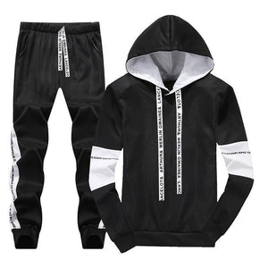 White Black Men Hoodies Set Fashion 2019 Autumn Brand Casual Tracksuit Mens Set Sports Two Piece Patchwork Hoodie Pant Male Suit
