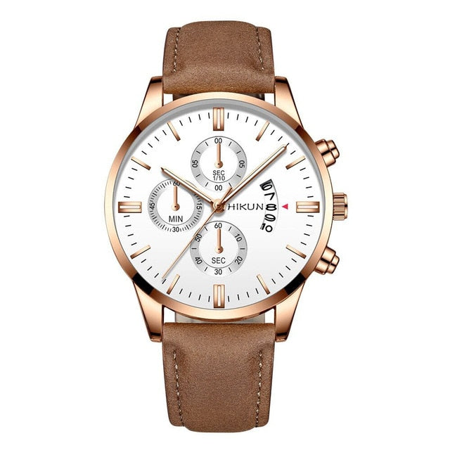 reloj hombre Luxury Mens Watch Fashion Sport Wrist Watch Alloy Case Leather Band Watch Quartz Business Wristwatch calendar Clock