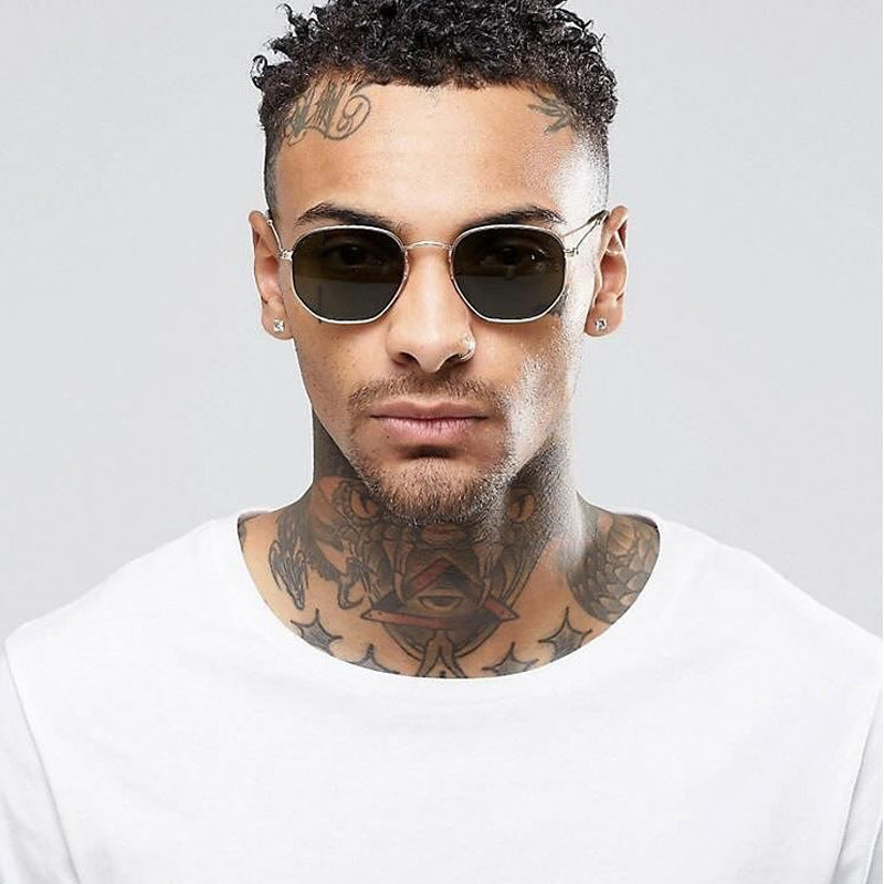2020 Square Sunglases Men Hexagon Sun glasses Mannen Women Metal Frame Fishing Glasses Gold gray Eyewear lentes de sol hombre