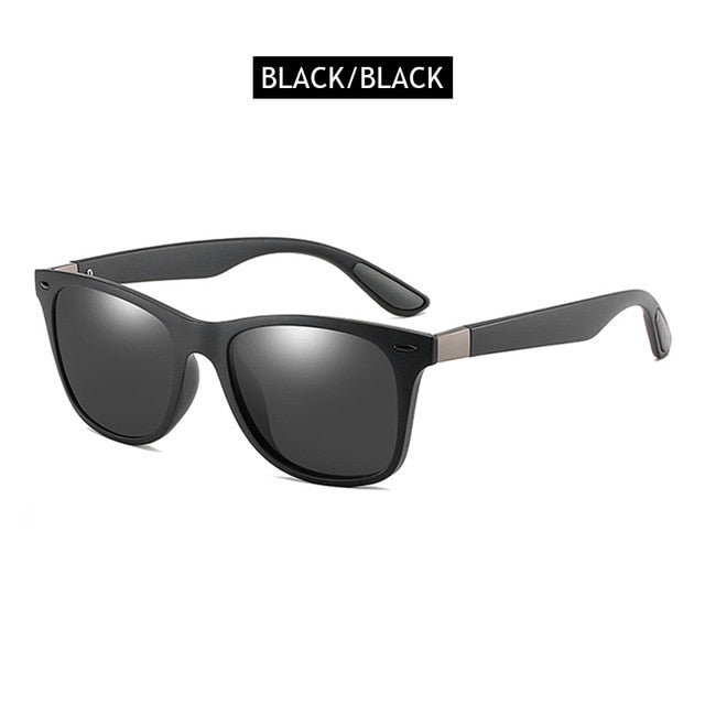 FUQIAN Hot Sale Polarized Sunglasses Men Women Classic Square Plastic Driving Sun Glasses Male Fashion Black Shades UV400
