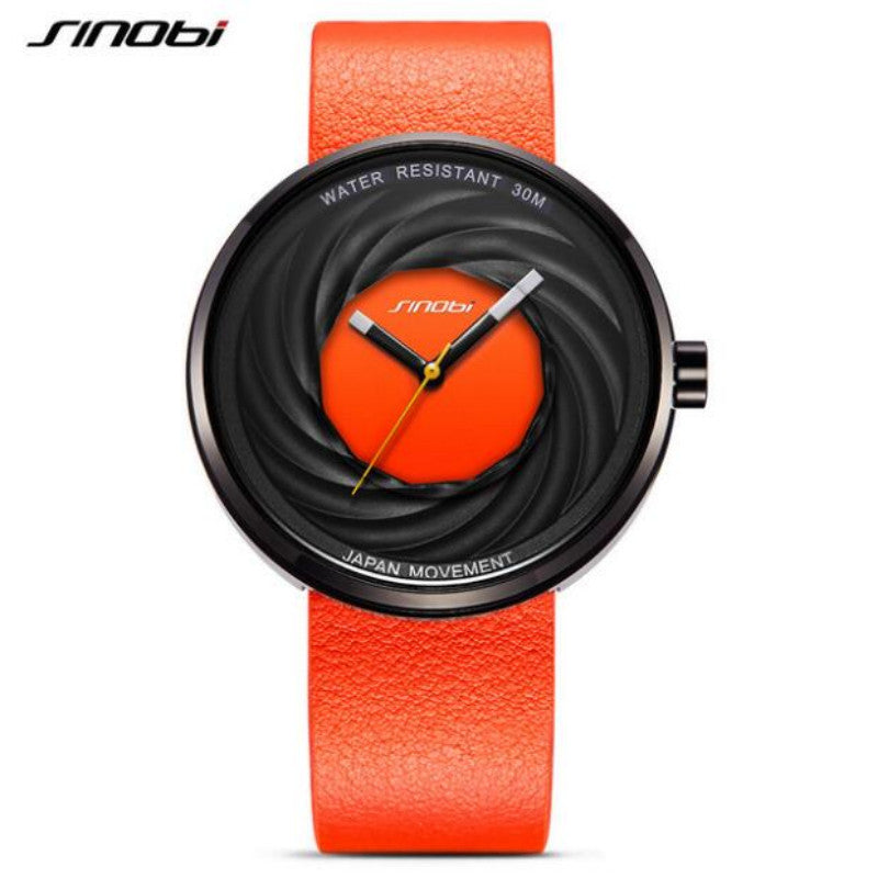 SINOBI brand fashion whirlwind men ladies watch leather unique watch