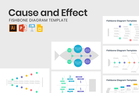 5 Modern Fishbone Infographics Templates