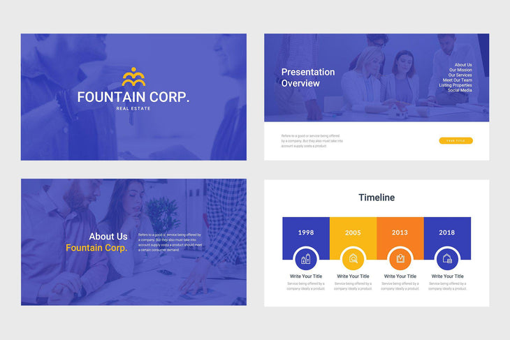 Fountain Corp Real Estate PowerPoint Template-PowerPoint Template, Keynote Template, Google Slides Template PPT Infographics -Slidequest