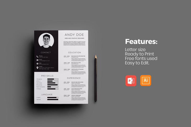 BRIGHT Resumes PowerPoint Adobe Illustrator Bundle-PowerPoint Template, Keynote Template, Google Slides Template PPT Infographics -Slidequest
