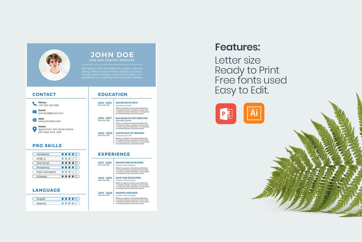 Santorini Resume Template-PowerPoint Template, Keynote Template, Google Slides Template PPT Infographics -Slidequest