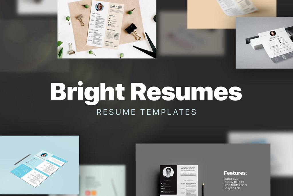 BRIGHT Resumes PowerPoint Adobe Illustrator Bundle
