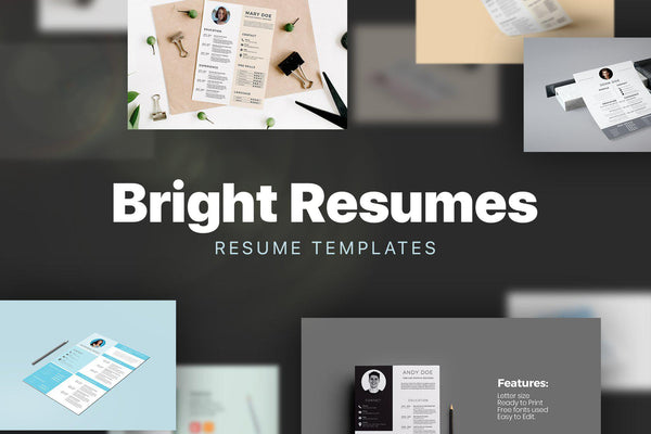 BRIGHT Resumes PowerPoint + Adobe Illustrator Bundle