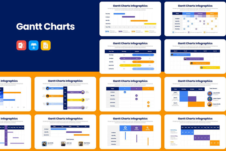 Gantt Charts Infographics-PowerPoint Template, Keynote Template, Google Slides Template PPT Infographics -Slidequest