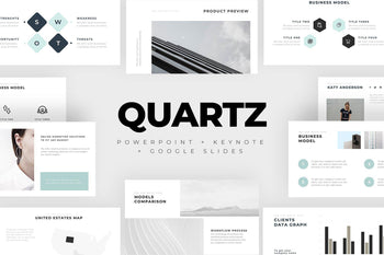 QUARTZ Minimal PowerPoint Keynote Google Slides Bundle